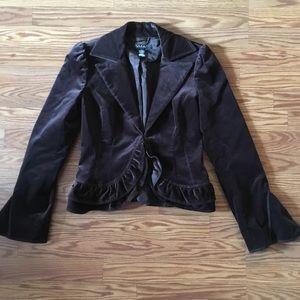 Brown velvet ruffle Laundry by Shelli Segal jacket